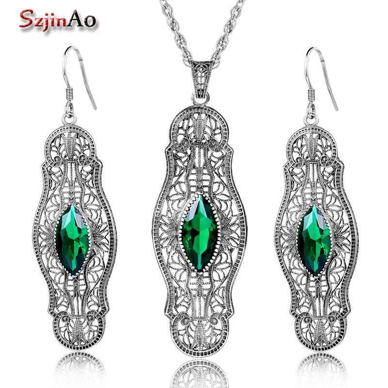 Szjinao 925 Sterling Silver Jewelry Set Choker Emrald Earrings/Pendant For Women Bridal Jewelry Sets Lima Peru american loft style iron glass droplight edison pendant light fixtures vintage industrial lighting for dining room hanging lamp