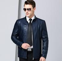 New men plus size leather clothes men's stand collar Business Casual leather jacket Men Sheep skin Genuine Leather jackets coats