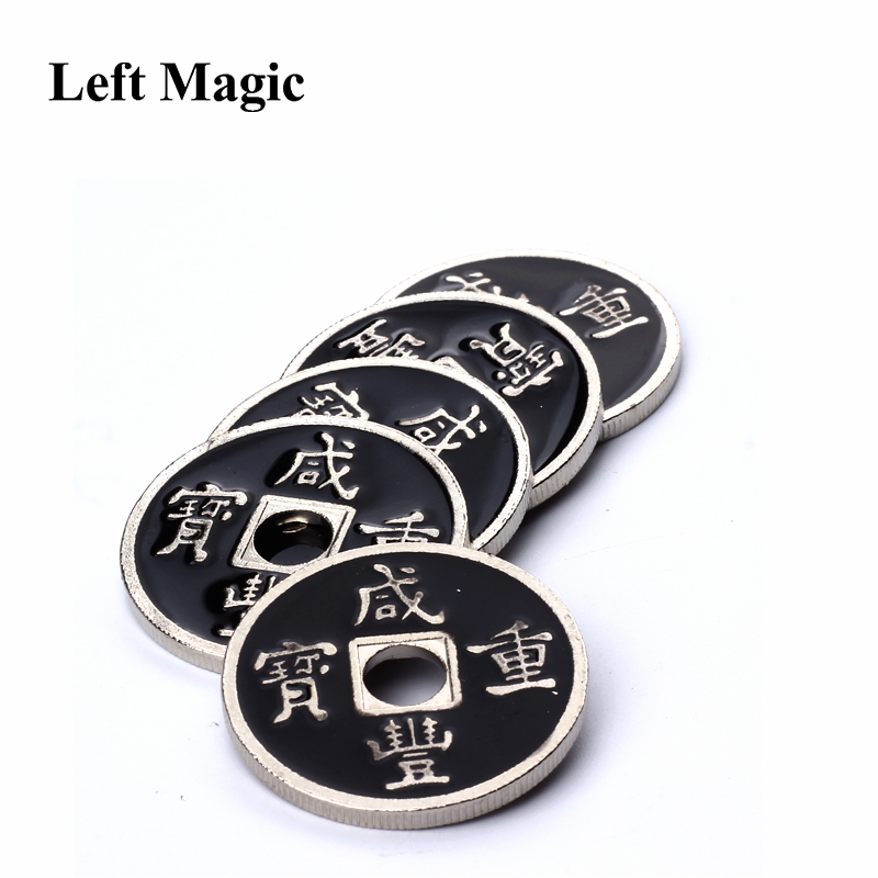 1 Pcs Chinese Coin Magic Tricks US Half Dollar Size Black  Mental Ancient Coins Magic Coins Props Accessories Close Up Magic