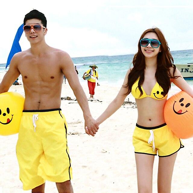 FREE SHIPPING! Lovers swimwear smiley bikinis25 beach pants beach yellow beach set