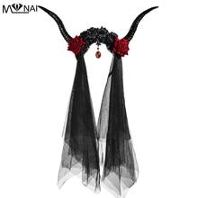 Halloweenowa opaska rogi renifera fotografia imprezowa stroik z różami i welonem elegancki kryształowy wisiorek złe rogi Gothic Steam Punk