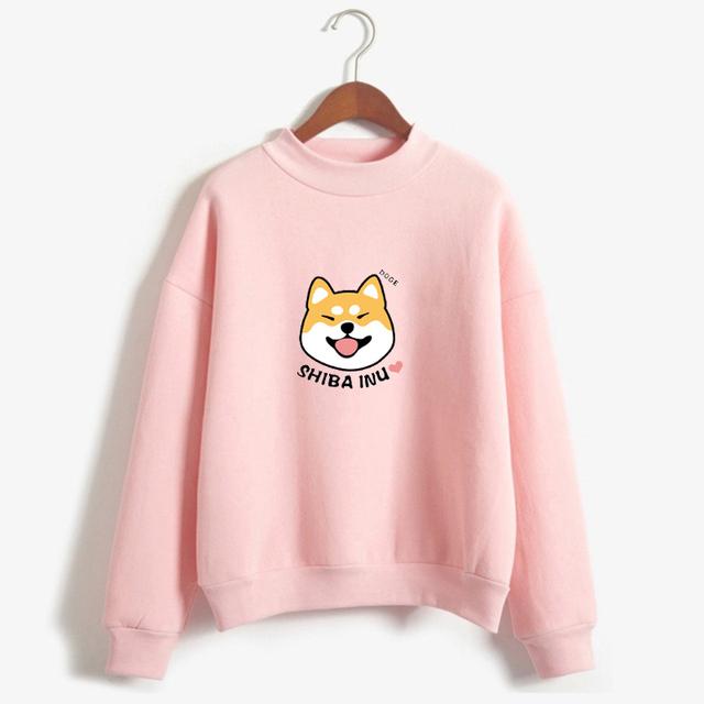 Women Harajuku Hoodies Cartoon Dog Shiba Inu Anime Printed Sweatshirt sudadera mujer moletom feminino Kawaii Pullover Top