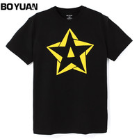 BOYUAN Brand Summer T Shirt Men Clothing O Neck Short Sleeve Five Pointed Star Print Cotton