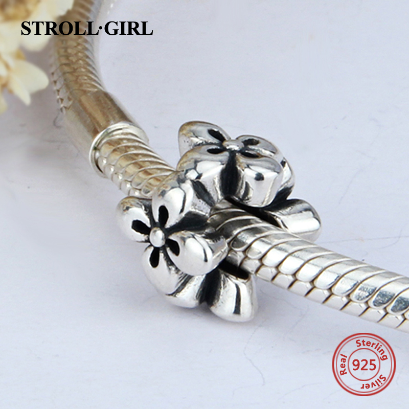 StrollGirl Fit Original pandora Charms Bracelet Authentic 925 sterling Silver flower diy fashion Jewelry making for women Gifts
