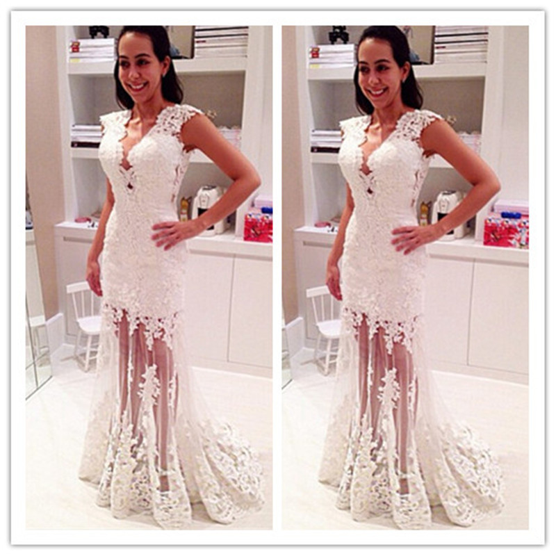 Aliexpress.com : Buy 2015 Hot Sexy White Lace Prom Dress Long V ...