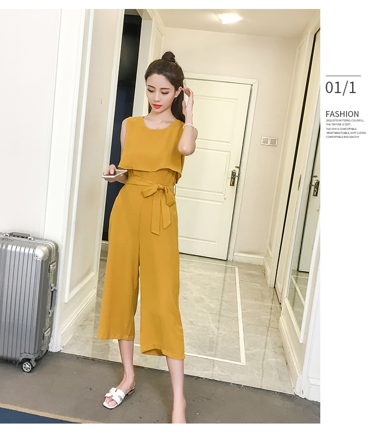 Korean Style 2019 New Women Jumpsuits High Waist Wide-leg Woman Bodysuit Rompers Womens Jumpsuit Combinaison Femme 12