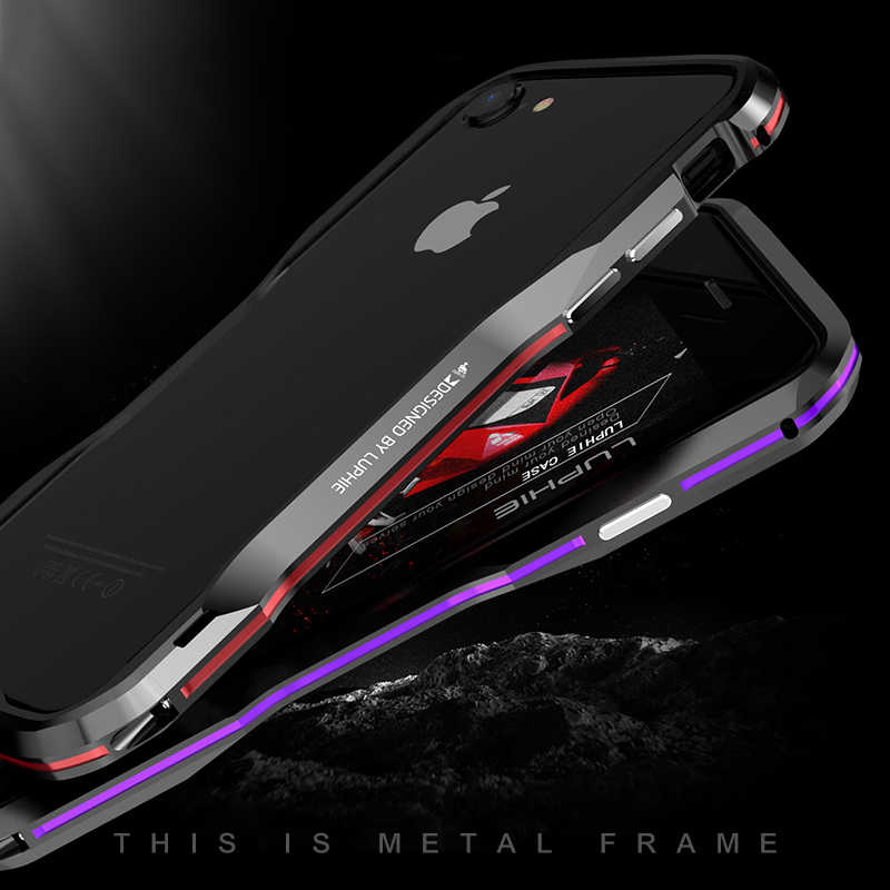 Luphie Voor Apple Iphone 7 Plus Case Cover Hard Luxe Slim Metal Aluminium Frame Beschermende Bumper Telefoon Case Voor Iphone 8 Case