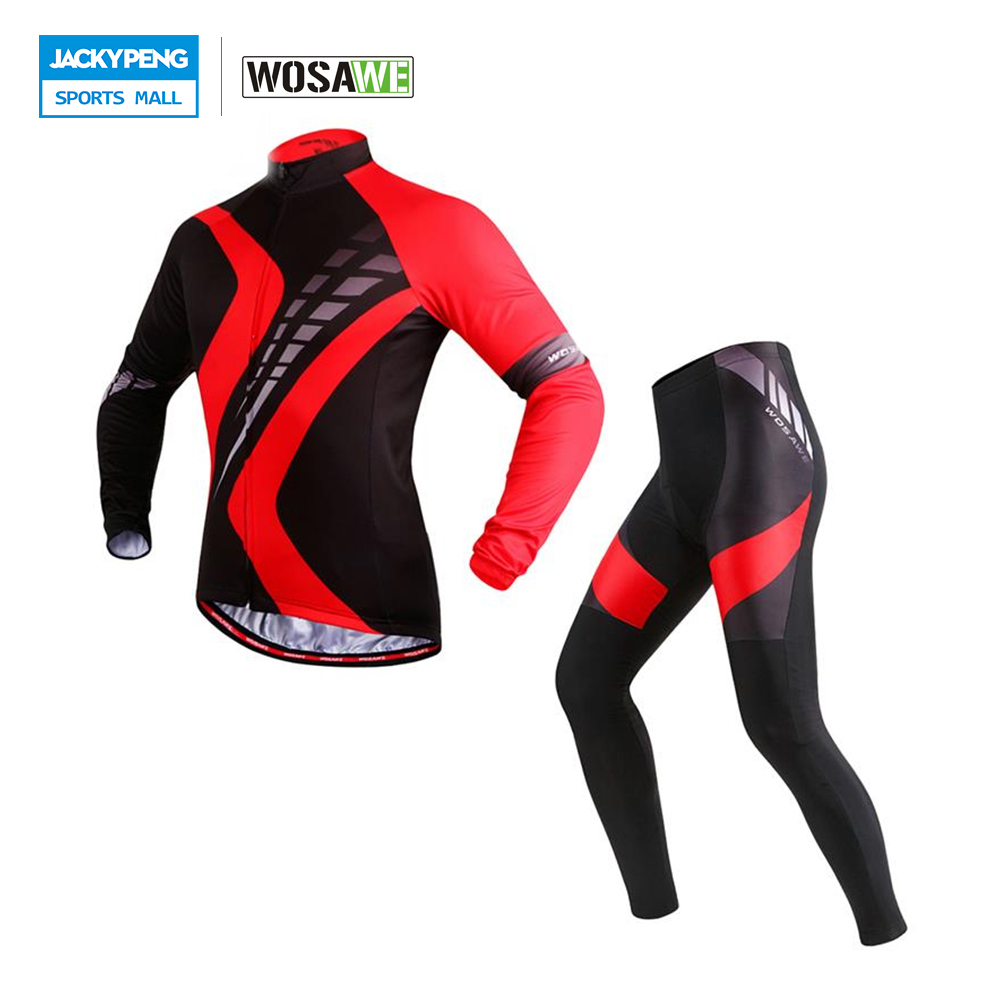 WOSAWE Breathable Spring & Autumn Mens Bicycle Riding Clothing Sets Long Sleeve Cycling Jersey & 4D Padded Pants Tights