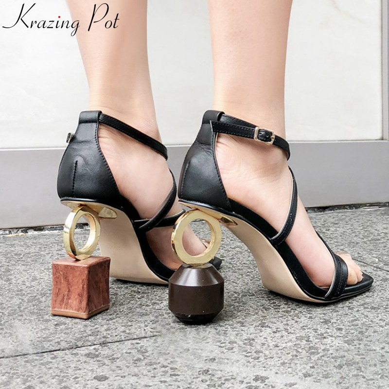 new big size genuine leather strange style extreme high heels streetwear nightclub summer shoes brand peep