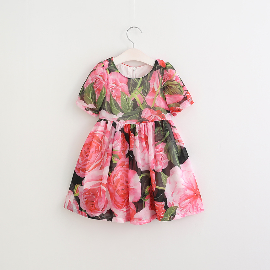 Girls Summer Dresses Rose Flower Printed Robe Fille Enfant Princess Dress Girl Costume Kids Clothes 2017 Brand Children Dress girls dresses summer 2016 brand christmas dress princess costume robe fille enfant floral print kids dresses for girls clothes