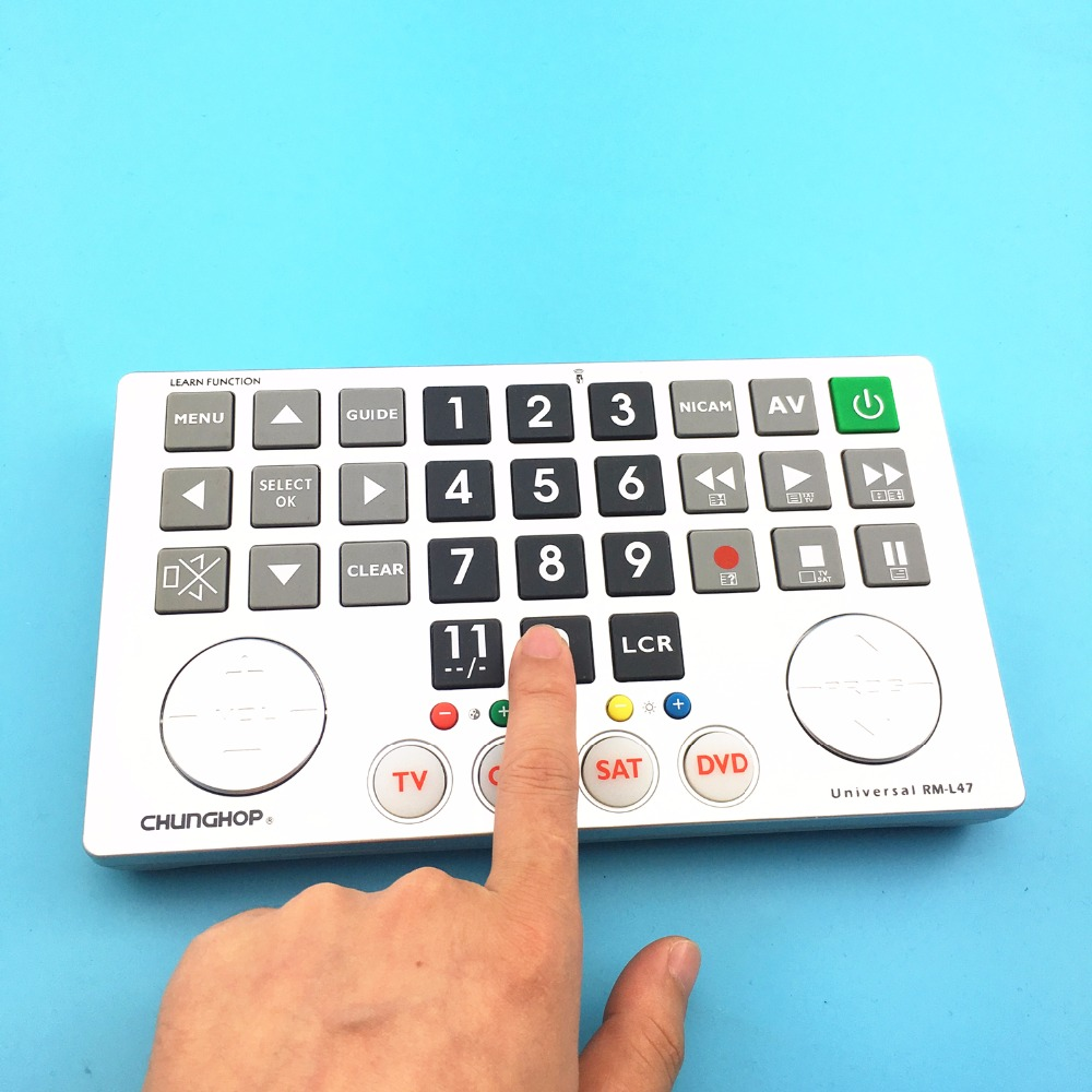 Chunghop Combinational remote control learn remote for TV SAT DVD CBL DVB-T AUX universal controller with code BIG KEY BUTTON chunghop rm l199 30 key multifunction study remote controller green beige