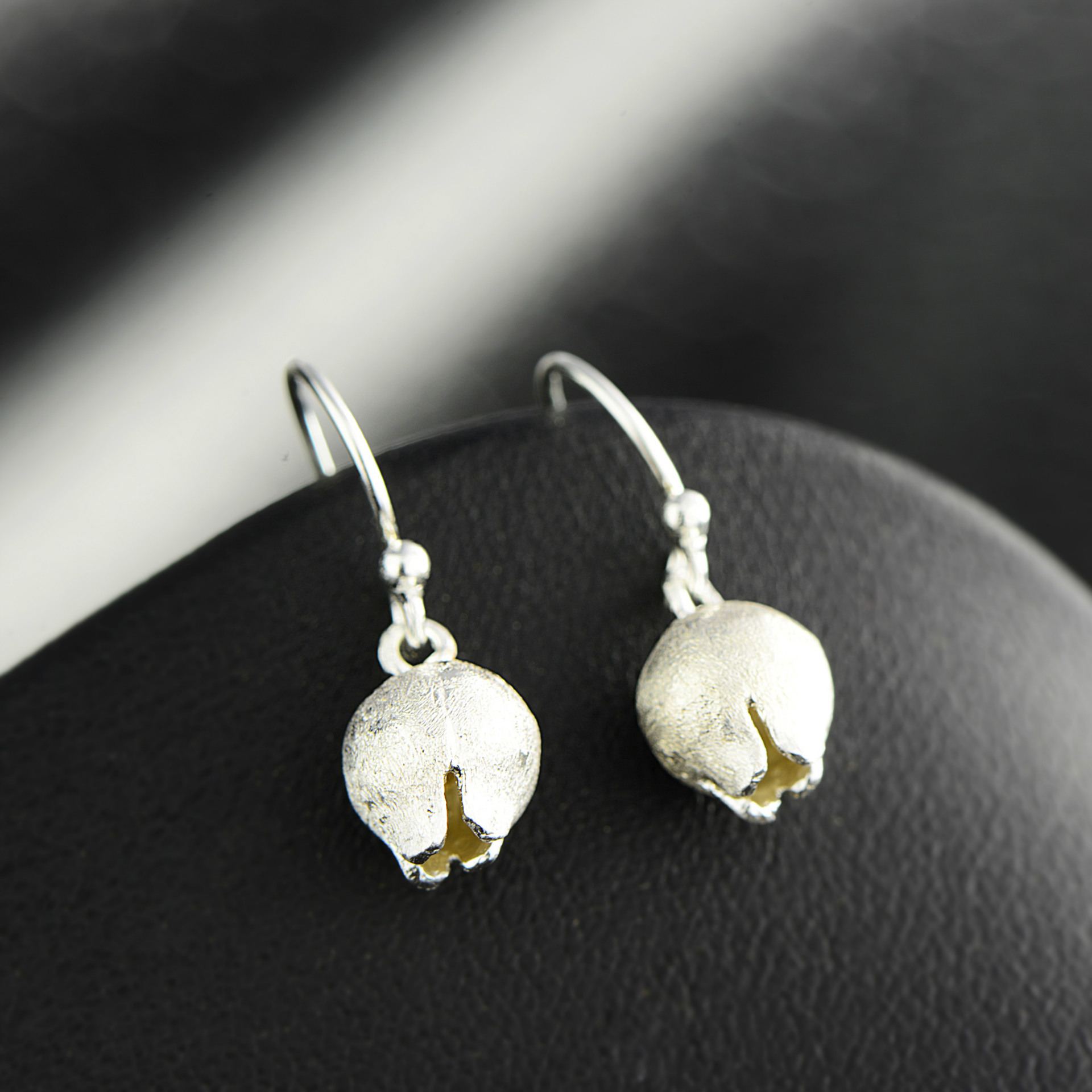 925 Tremella pendant grinding technology, beautiful small flower bud, female earrings, natural silver earrings. 925 female fashion earrings korean tremella nail earring japan hypoallergenic flower pearl earrings jewelry