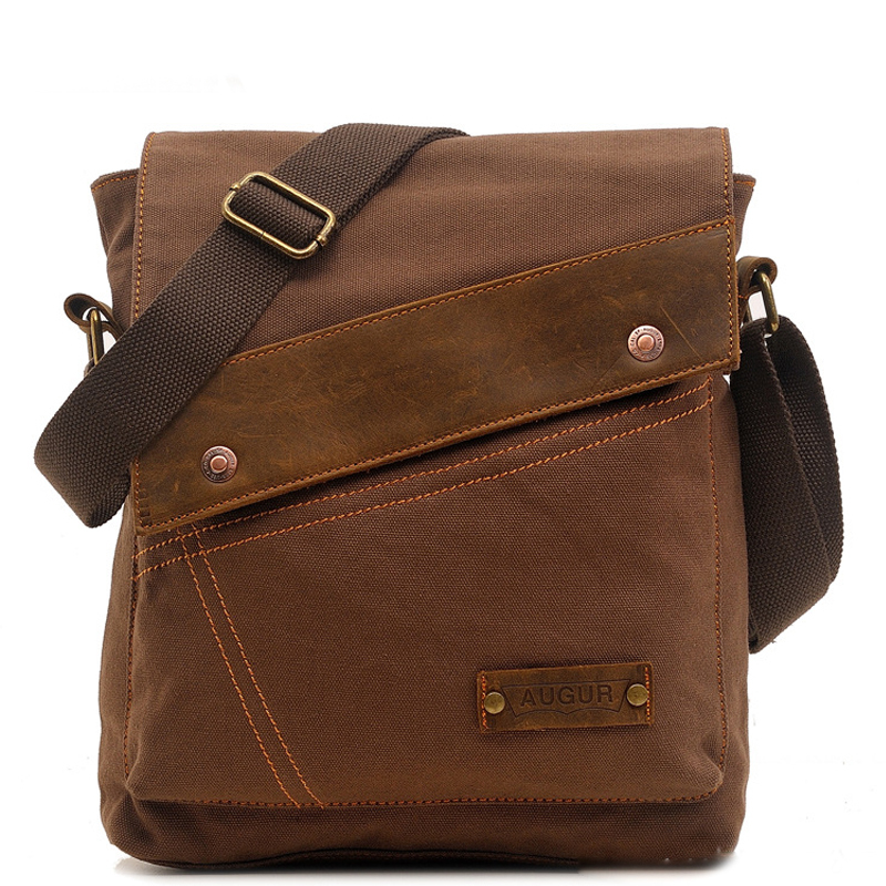 Brand Leather&Canvas Vintage Casual Men's Flap Crossbody Shoulder Bag Small Messenger Bags Travel Zipper Bag vintage canvas messenger bag high quality womens crossbody bags bend zipper design casual small flap tote bag