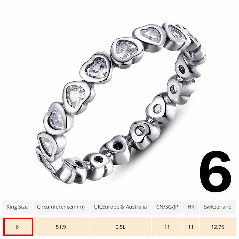 BAMOER אותנטי 100% 925 כסף סטרלינג אהבת לב לנצח יותר טבעת ברור CZ תכשיטי מכירת חיסול מלאי מוגבל נמוך כדי 3.99