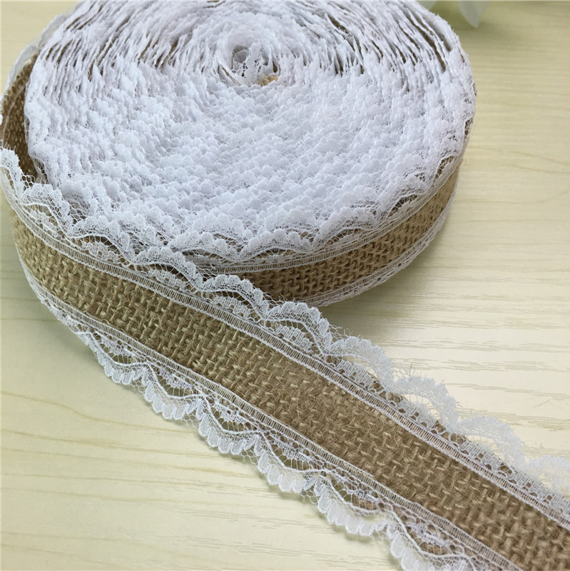 Christmas Wedding Decoration 5m Natural Jute Roll Burlap Hessian Lace Ribbon Roll + White Lace Edge Roll Party Decoration HB015