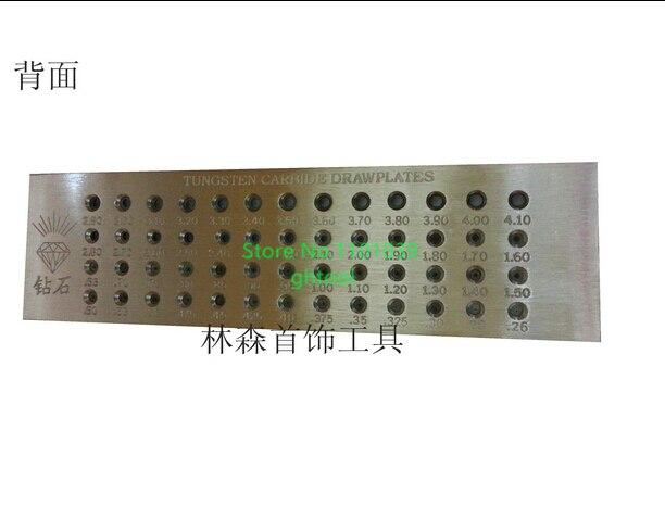 Livraison gratuite 52 trous outils de fabrication de bijoux taille de trou 0.26-4.100mm ronde carbure de tungstène tirettes outils de bijoux
