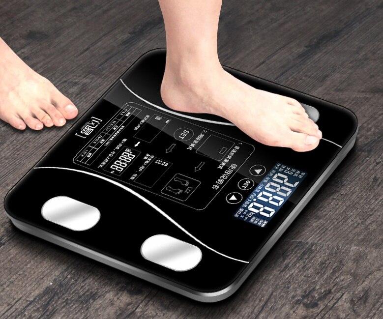 Balance de poids corporel pour salle de bain Balance de poids en verre Smart ménage électronique numérique Balance de poids bariatrique LCD affichage PK xiaomi