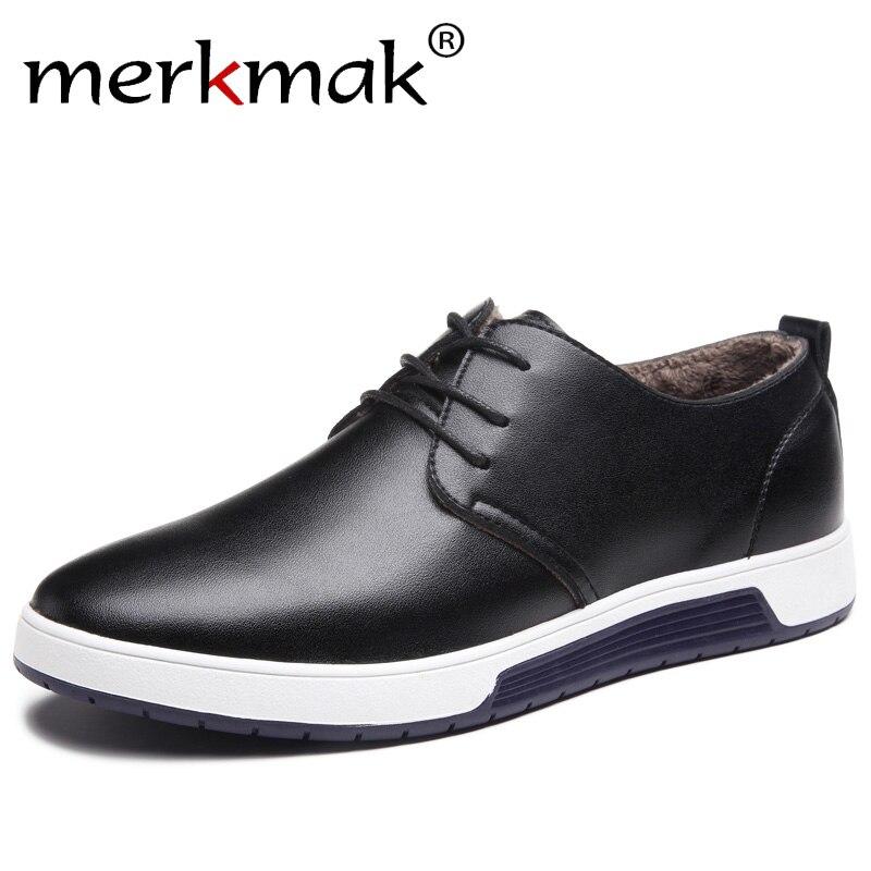 Merkmak Winter Casual Shoes Warm Fur Leather Mens Flat Shoes for Man Brand Leisure Waterproof Driver Fashion Sneakers Footwear