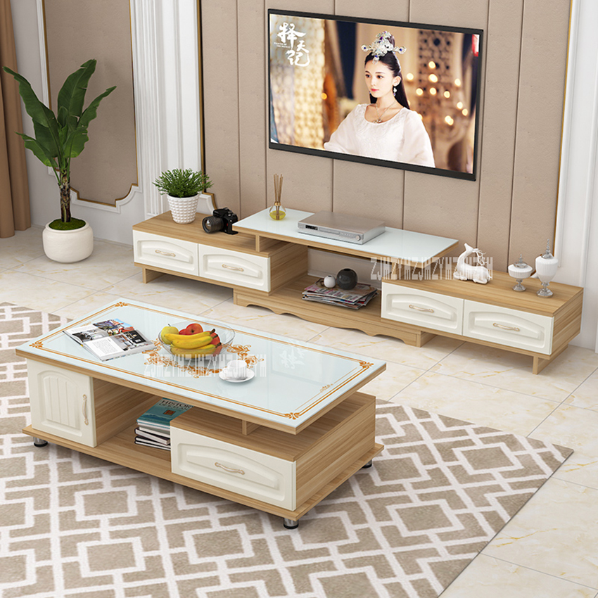 DSG188 TV Stand Tea Table Combination Set Toughened Glass Scalable TV Bench Environmentally Friendly Solid Wood TV Cabinet