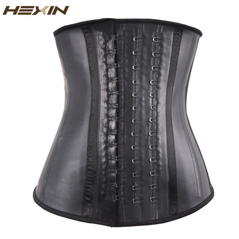 HEXIN 100% caucho Entrenador de cintura de látex Ganchos grandes Entrenador de cintura deshuesado de acero Corsé Talladora de cuerpo negro Underbust Fajas Fajas