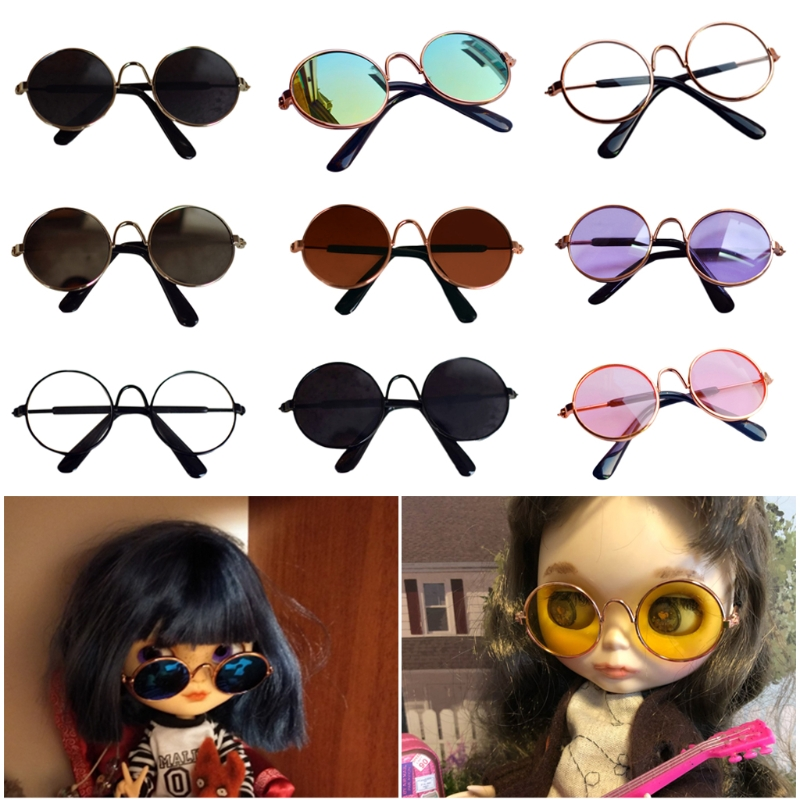 1 Pcs Doll Accessories Round Round <font><b>Glasses</b></font> Color <font><b>Glasses</b></font> Sunglasses for <font><b>BJD</b></font> Blyth American Grils Toy Photo Props image