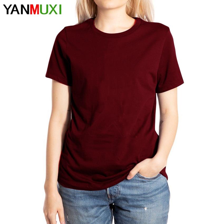 2019 Women's New Round Neck Wild Casual Wild Color Cotton Summer Shirt T-shirt