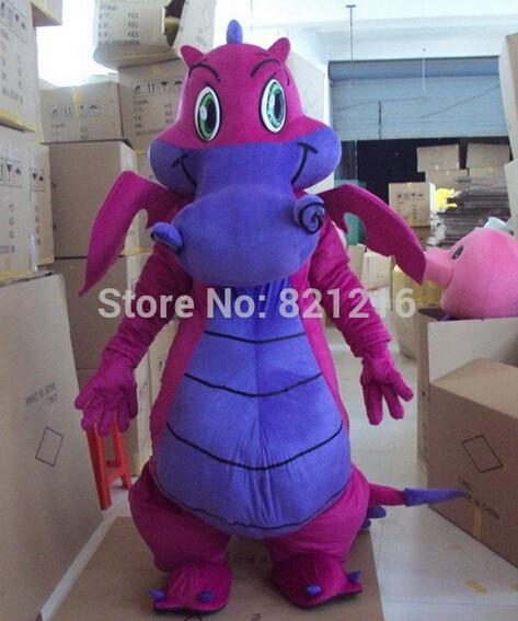 Professional New Big Purple Dragon Mascot Costume Fancy Dress Adult Size