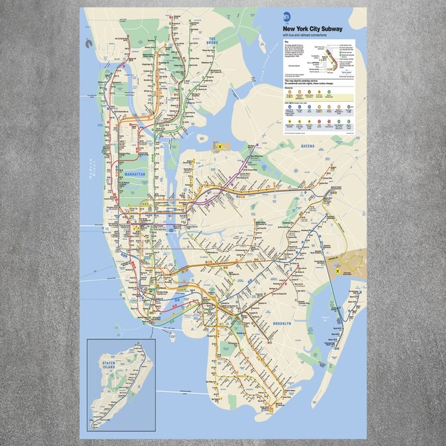 Newyork City Subway Map.New York City Subway Map Canvas Art Print Painting Poster Wall