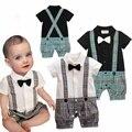 Branco Gravata Borboleta Preta Uma Peça Gentleman Romper Do Bebê Menino Terno Roupa Dos Miúdos Macacão Macacão Roupas Roupas De Bebe Infantil Verão