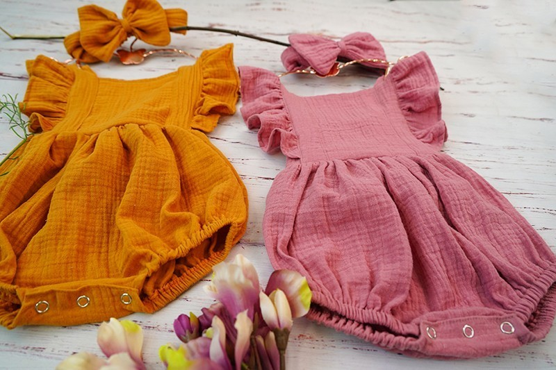 HTB1nXHdUpzqK1RjSZFoq6zfcXXaj Organic Cotton Baby Girl Clothes Summer New Double Gauze Kids Ruffle Romper Jumpsuit Headband Dusty Pink Playsuit For Newborn 3M