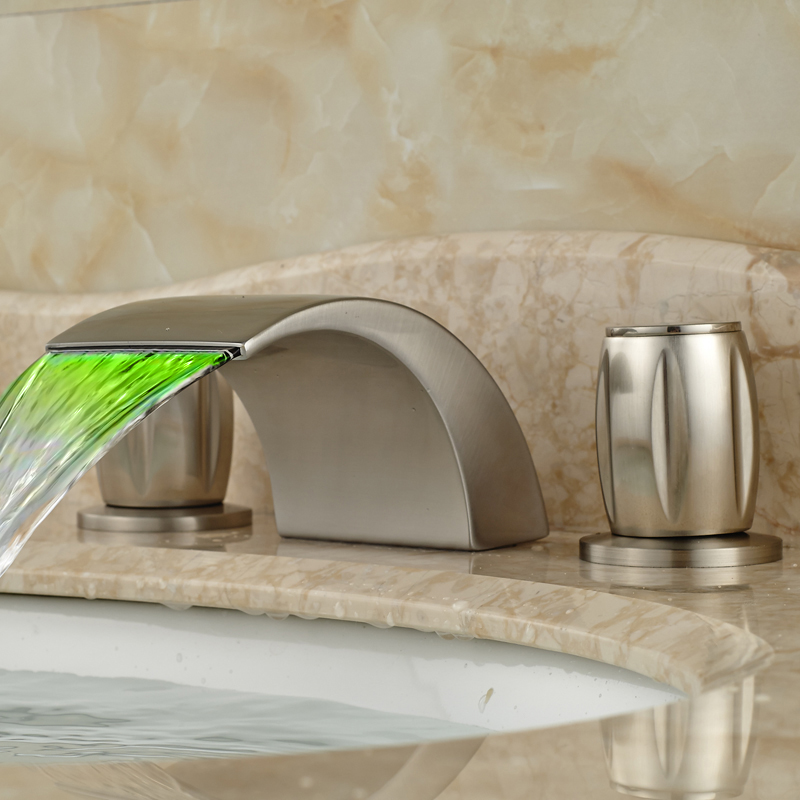 Good Quality Curve Waterfall Spout Basin Faucet with LED Color Changing Brushed Nickel Dual Handles