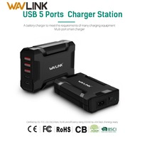 5 Port 45W/9A Desktop Charging Station USB C USB Wall Charger with power adapter for mobile phone USB 3.0 Travel Charger US plug Mobile Phone Chargers    -