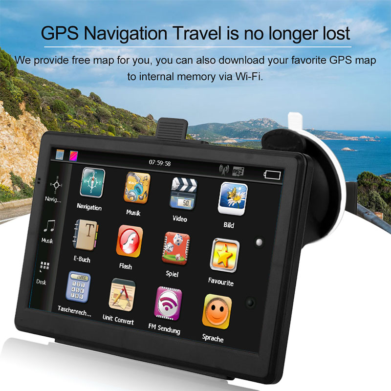 Vehemo 7 Inch GPS Navigation Car Voice Broadcast Speech Recognition for FM Emission Pratical Touch Screen Map