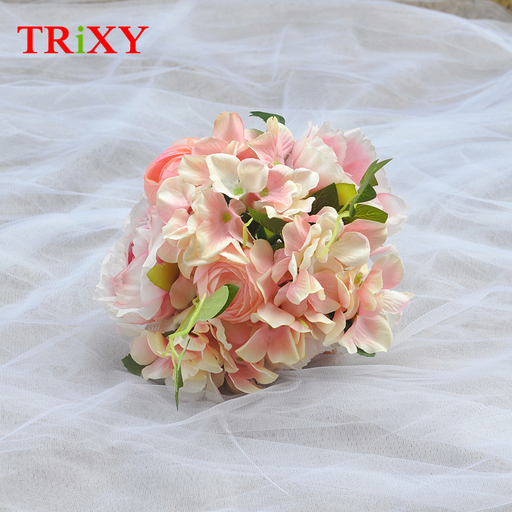 Wedding Bouquets Weddings & Events Trixy B15 Free Shipping Charming Wedding Bouquet Bride Bridal Holding Flowers Pink Rose Artificial Flowers Bridal Bouquets