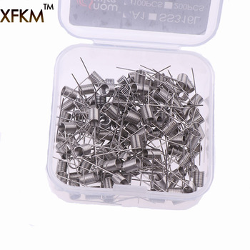 XFKM 100 Pcs Electronic Cigarette Rda Atomizer Wick Wire Coil Premade Coil A1 SS316L Pre Coiled Resistance Heating Wire Coiling