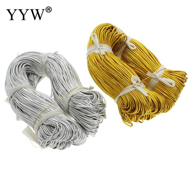 Wholesale 100m/pc <font><b>2mm</b></font> Nylon <font><b>Cord</b></font> for Necklace Bracelet Jewelry Making Gold Silver Round <font><b>Elastic</b></font> Thread Rope Knot Bracelet String image