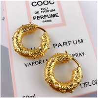 Extremly Hot Full Rhinestone Inlay Gold color CONCAVE &CONVEX hoop earrings des boucles d'oreilles en concaves et convexes