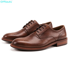 Vintage Round Toe Men's Oxford Shoe Genuine Cow Leather Lace Up Formal Shoes High Quality Fashion Mens Dress Shoes