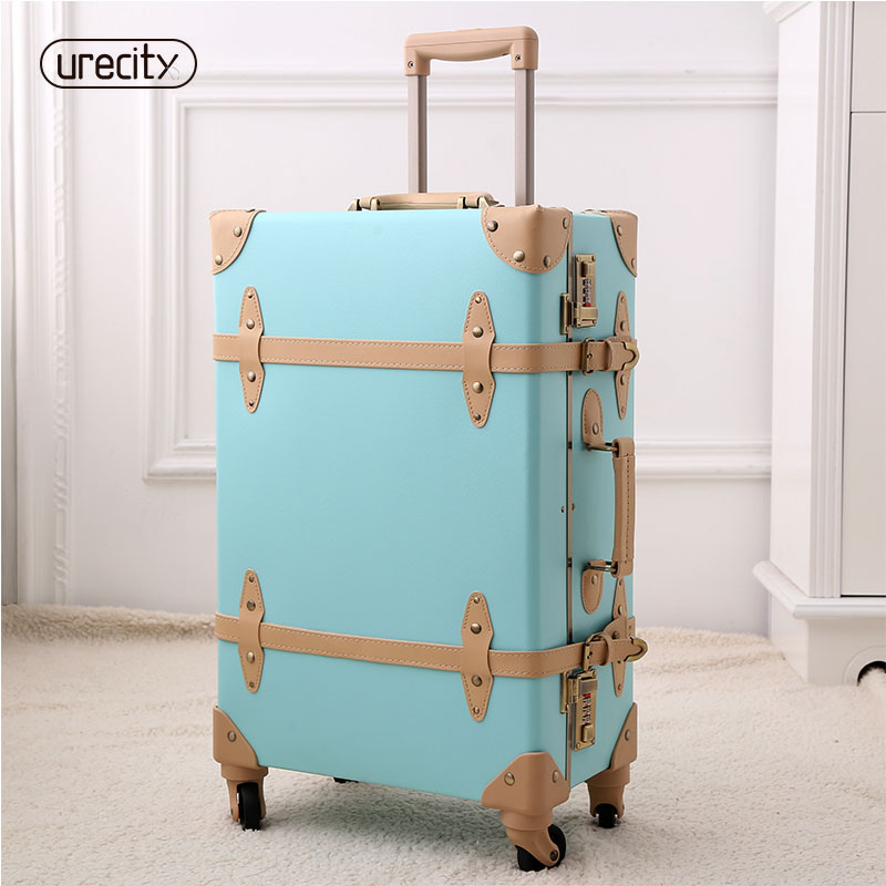 2018 retro luggage spinner rolling pu suitcase hand made genuine leather travel suitcase 2022 24high quality free shipping vintage suitcase 20 26 pu leather travel suitcase scratch resistant rolling luggage bags suitcase with tsa lock