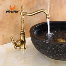 MYNAH Russia Free Shipping Retro Style Kitchen Faucet Brass Sink Hot And Cold Water Rotate The Light Kitchen Mixer M5931N