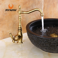 MYNAH Russia Free Shipping Retro Style Kitchen Faucet Brass Sink Hot And Cold Water Rotate The