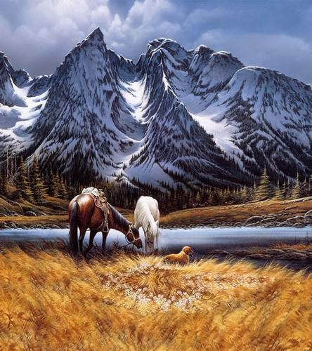 Horses at the foot of Snow Mountain 5X7ft Scenic Backgrounds for Photo Studio Vinyl Photography Backdrops promoting 10ftx16ft scenic vinyl studio digital photography backdrops f 1450 backgrounds snow mountain for wedding shooting