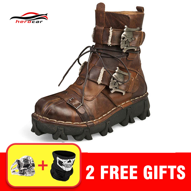 Cool Motorcycle Boots Men Retro Genuine Cow Leather Skull Punk Martin Shoes Motorbike Biker Moto Boots Protective Gear EU 38-49 free shipping 2017 cool brand man style skull leather eur plus size jackets men s genuine leather motorcycle biker jacket