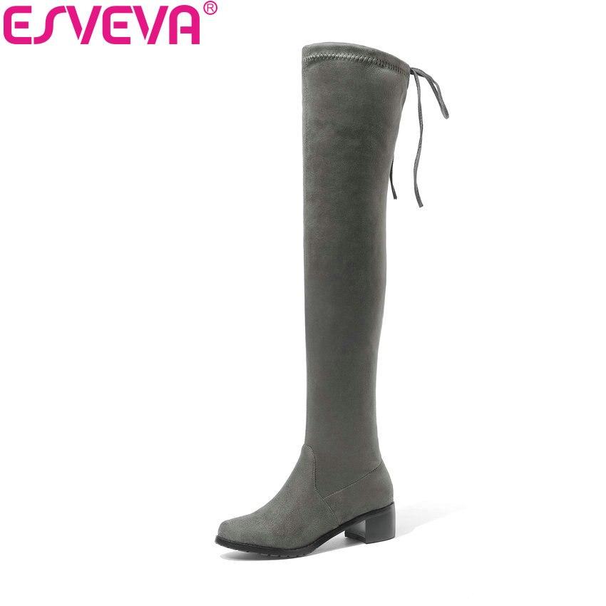 ESVEVA 2019 Frauen Stiefel Schuhe Lace Up Sexy Stiefel Über Das Knie Stiefel Schuhe Med Heels Mode Karree Winter stiefel Größe 34-43