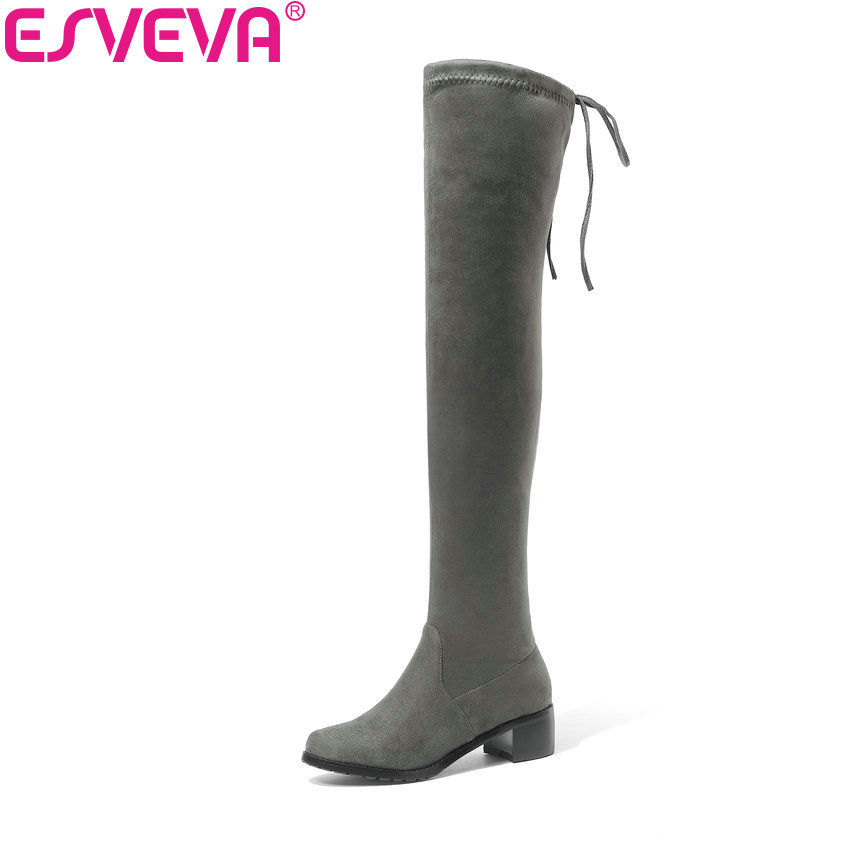 ESVEVA 2019 Women Boots Shoes Lace Up Sexy Boots Over The Knee Boots Shoes Med Heels Fashion Square Toe Winter Boots Size 34-43 enmayla retro winter high heels ankle boots women nubuck charms shoes woman sexy red boots med heels square toe boots size 34 43