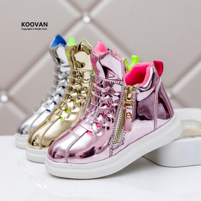 Koovan crianças sneakers 2017 tênis de alta superior não-escorregar meninos meninas casual shoes brilhante ouro prata botas de estudantes crianças shoes