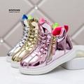 Koovan niños sneakers 2017 zapatilla de deporte de alta superior antideslizante chicos chicas casual shoes brillante de plata de oro estudiantes botas niños shoes