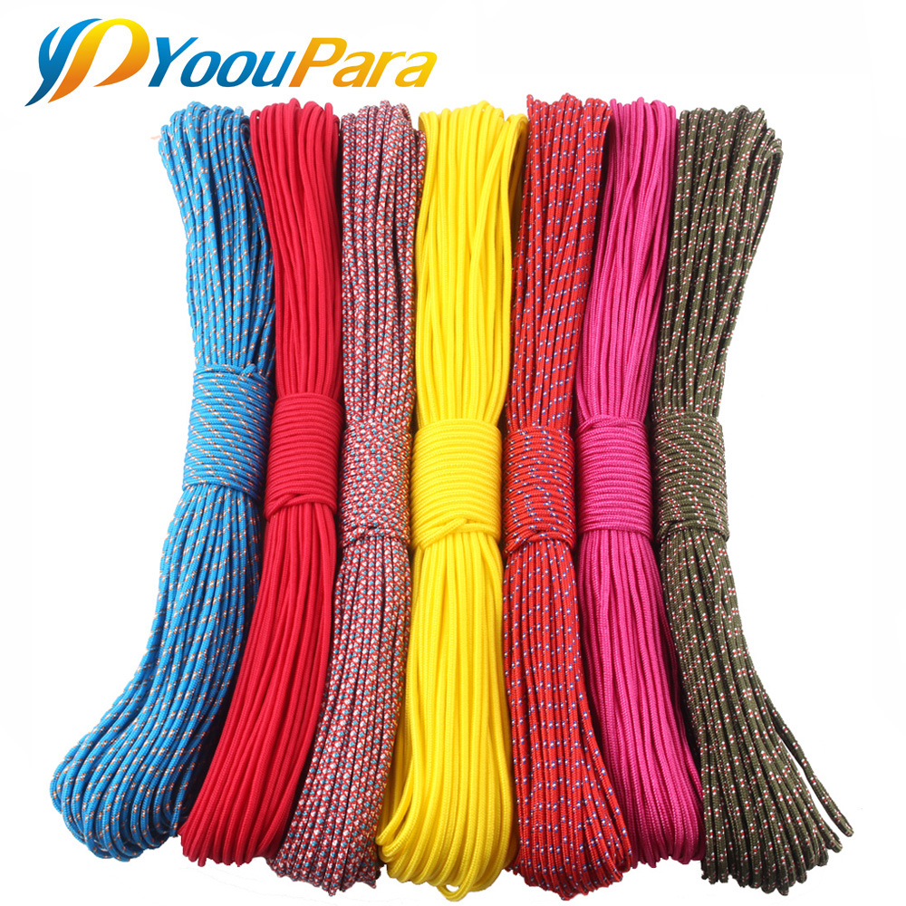 3mm Paracord 100FT Parachute Cord Rope 1 Strand Paracorde Outdoor Survival Equipment Clothes Line DIY Paracord Bracelet