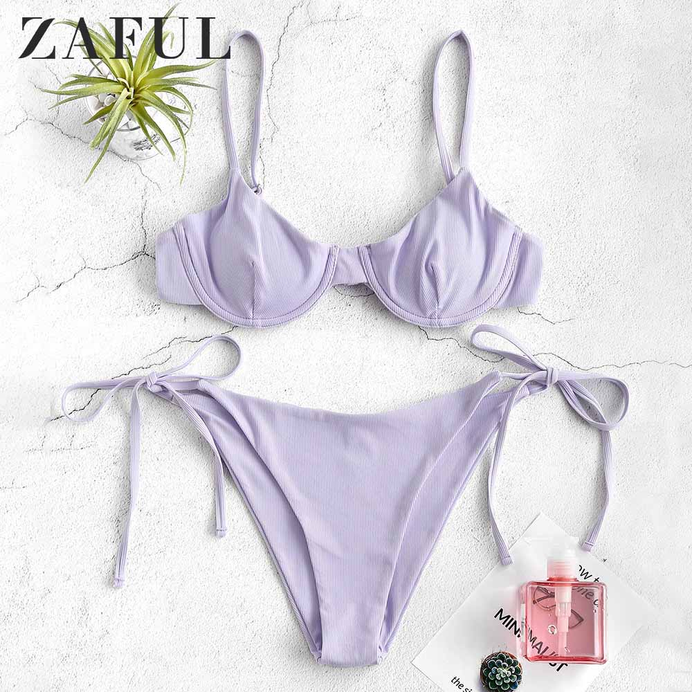 ZAFUL Ribbed Underwire Tie Side Bikini Set Spaghetti Straps Low Waisted Sexy Swim Suit Underwire Padded Push Up Bathing Suit