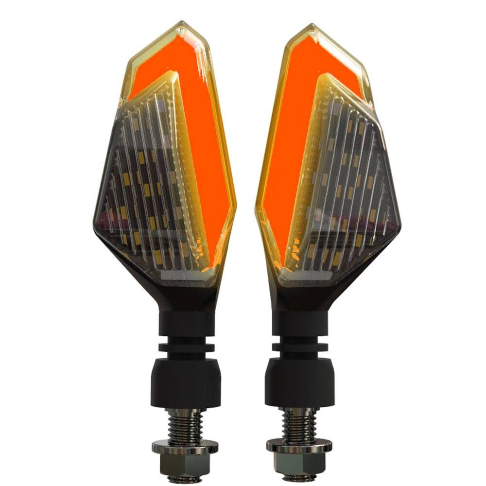 2 шт., светодиодный указатель поворота для мотоцикла, левая и правая сигнальная лампа, дневные ходовые огни, индикаторы, мигалки для Honda Kawasaki - Цвет: Red